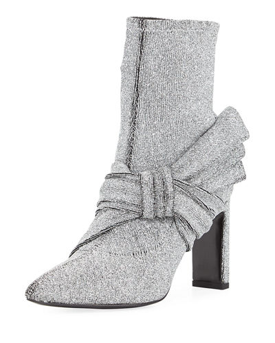 Helin Metallic Stretch-Knit Bootie