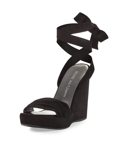 Swiftsong Suede Ankle-Wrap Wedge Sandal