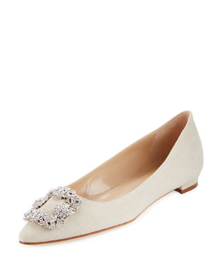Manolo Blahnik Pointed-Toe Linen Flats
