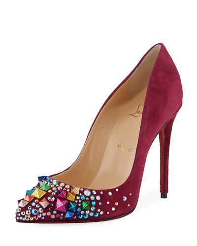Keopomp Velours Embellished Red Sole Pump
