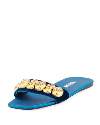 Prada Embellished Velvet Sandals