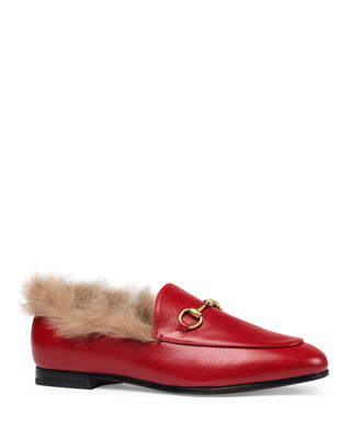 Women'S Jordaan Leather & Lamb Fur Loafers in Red