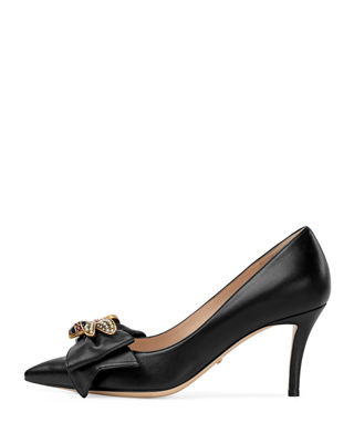 Queen Margaret Bee Bow Pointy Toe Pump, Black
