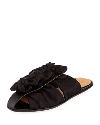Capri Knotted Satin Mule Flat by The Row