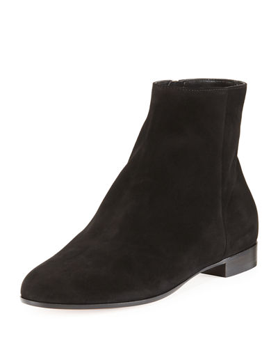 Flat Suede Ankle Boot