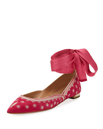 Bliss Ankle-Wrap Ballet Flats
