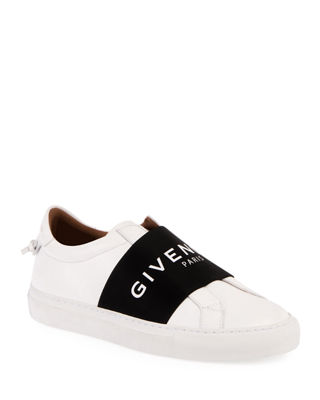 Urban Street Logo-Print Leather Slip-On Sneakers, White/Black