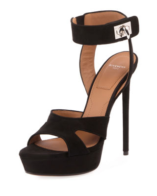 Shark Lock Cutout Suede Platform Sandals, Black