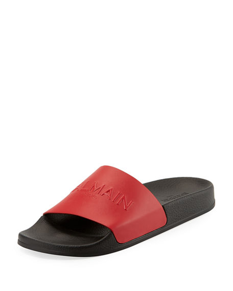 embellished slides slides embellished Balmain Red ZaqCf