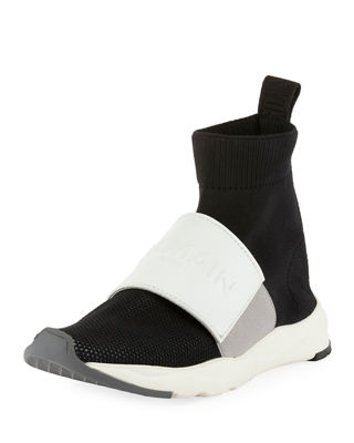 Balmain Designer Shoes, Cameron Studded Nylon and Leather Sock Sneakers