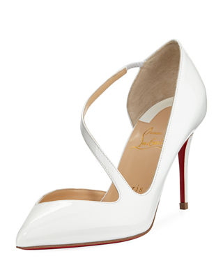 Jumping Asymmetric Red Sole Pump, Latte