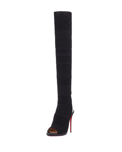 Cheminetta Open-Toe Over-The-Knee Red Sole Boot