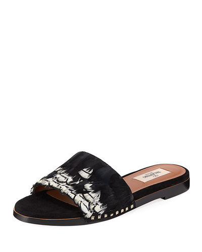Bordado Feather Slide Sandal