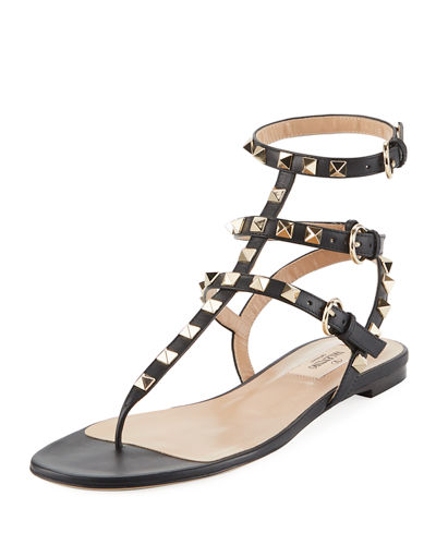 Rockstud Leather Thong Sandals