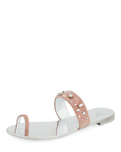 Crystal-Embellished Suede Toe-Ring Sandal