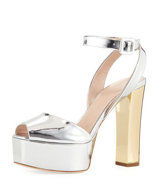 Denim Platform Ankle-Strap Sandals, Silver