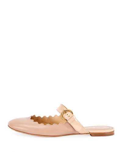 Lauren Flat Scalloped Mule with Buckle