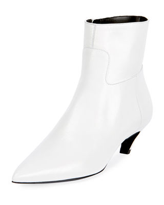Slash Heel Leather Ankle Boots, White Patent