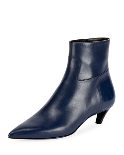 Leather Point-Toe Bootie