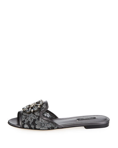 Jeweled Lace Mule Slide Sandal