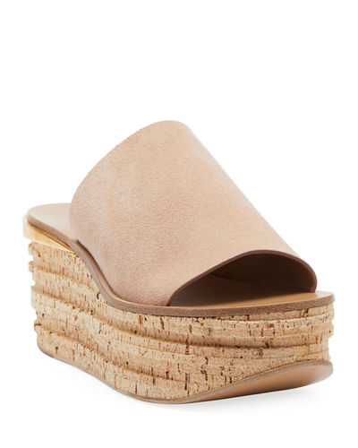 Camille Suede Wedge Slide Sandals