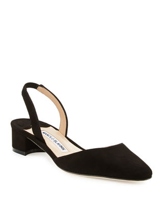 Manolo Blahnik Suede Leather-Trimmed Sandals