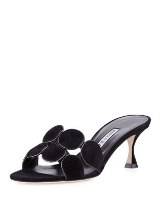 Manolo Blahnik Suede-Trimmed Leather Mules