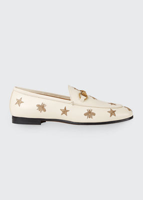 Women'S Jordaan Embroidered Leather Loafers, White Leather