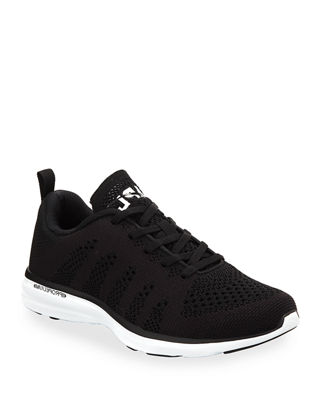 Athletic Propulsion Labs Women'S Techloom Pro Knit Lace Up Sneakers, Black/ White/ Black