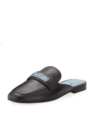 Prada Embroidered Round-Toe Loafers