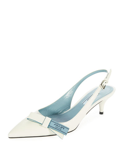 Logo-Bow Leather Slingback Pump