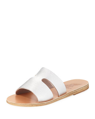 Apteros Cutout Leather Flat Slide Sandal