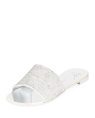 Nuvo Roll Swarovski Crystal Suede Slides in Silver