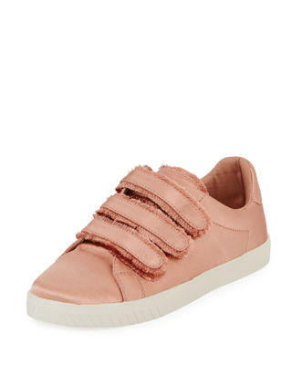 Carry Satin Triple Grip-Strap Low-Top Sneakers, Light Pink