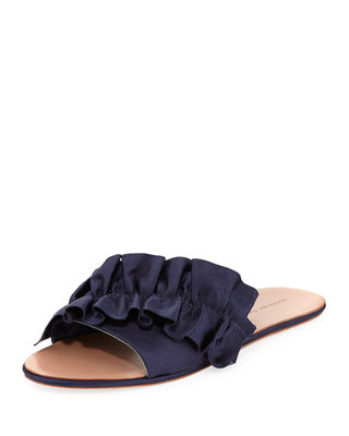 Women'S Rey Satin Ruffle Slide Sandals in Midnight Blue from LastCall.com