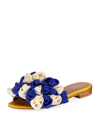 Satin Rosette One-Band Slide Sandal