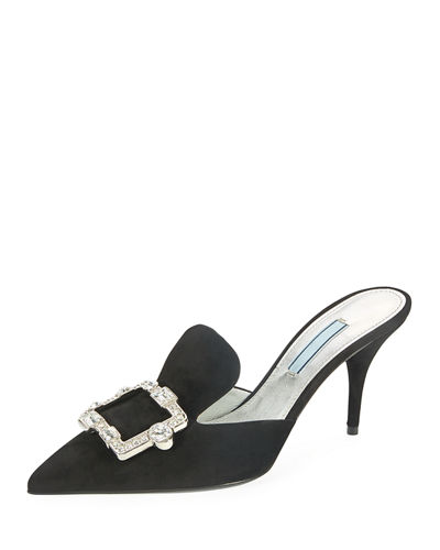Point-Toe Crystal-Buckle Mule Pump
