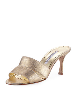 Manolo Blahnik Button-Embellished Leather Sandals