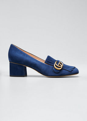 Suede Mid-Heel Pump With Double G in Blue