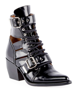 Rylee Double Buckle Leather Ankle Boots - Black Size 10