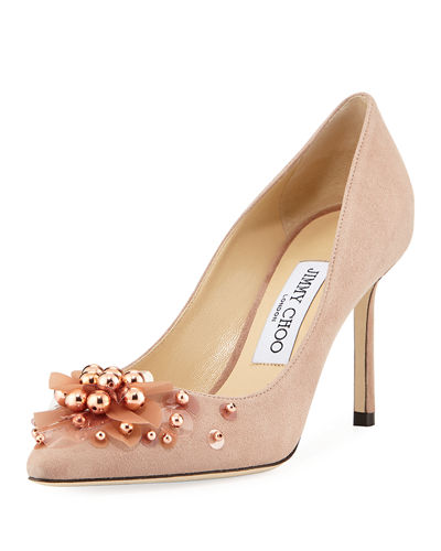 Romy Suede Flower Pump