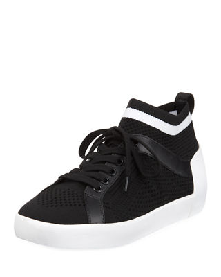Women'S Nolita Knit Mid Top Sneakers, Black/White