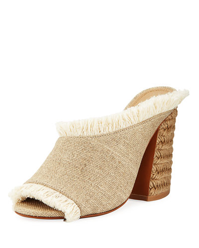 Izar Frayed Block-Heel Slide Sandal