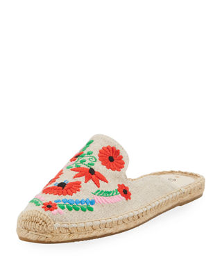 BEIGE IBIZA EMBROIDERED MULES - MULTI
