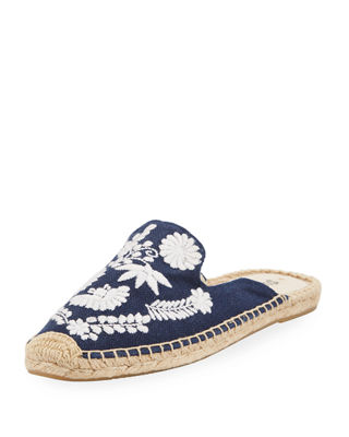 Soludos Beige Ibiza Embroidered Mules
