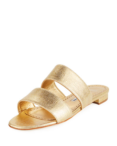 Bulgopla Two-Strap Slide Flat Sandal