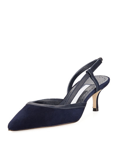 50mm Lorispla Suede & Leather Low-Heel Slingback Pump