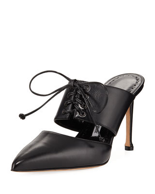 Manolo Blahnik Leather Lace-Up Mules