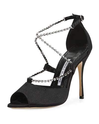 Etona Leather and Satin Sandal with Crystal Straps