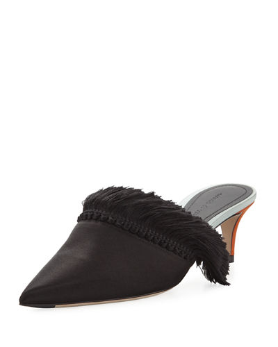 Satin Mule with Fringe Detail